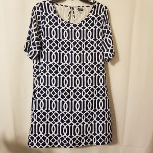 Mud Pie Blue and White Shift Dress